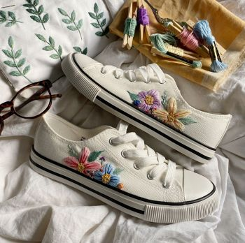 White Spring Bloom Embroidered Trainers