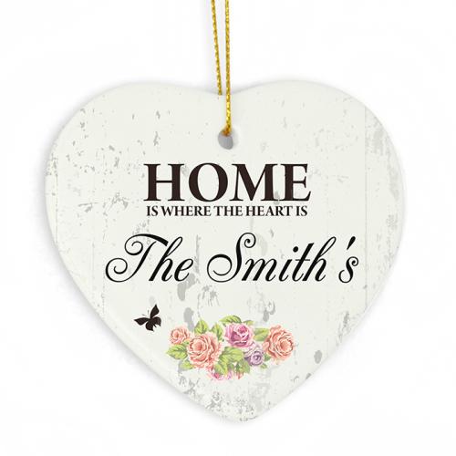 Shabby Chic Ceramic Heart Decoration