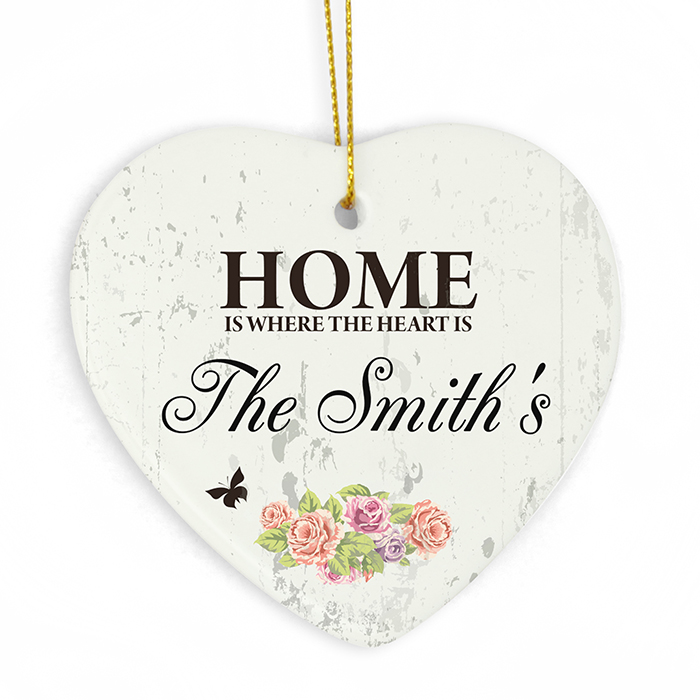 Shabby Chic Ceramic Heart Decoration