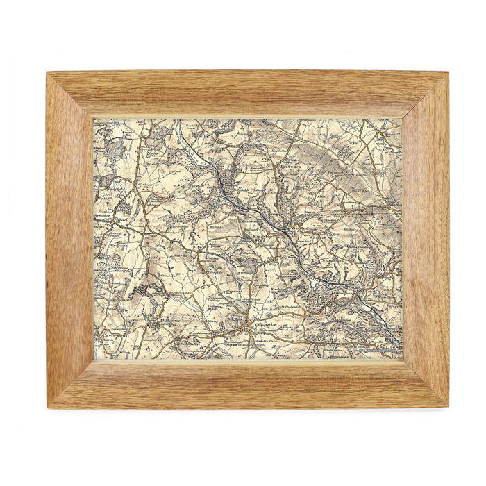 Postcode Map 10x8 Oak Frame