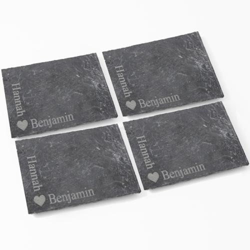 Heart Motif 4 Pack of Slate Coasters