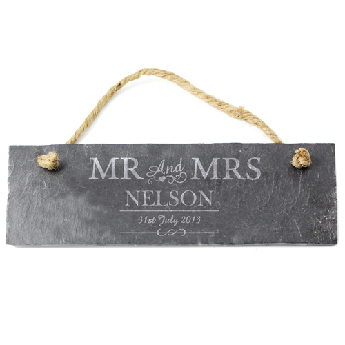 Mr & Mrs Slate Door Plaque