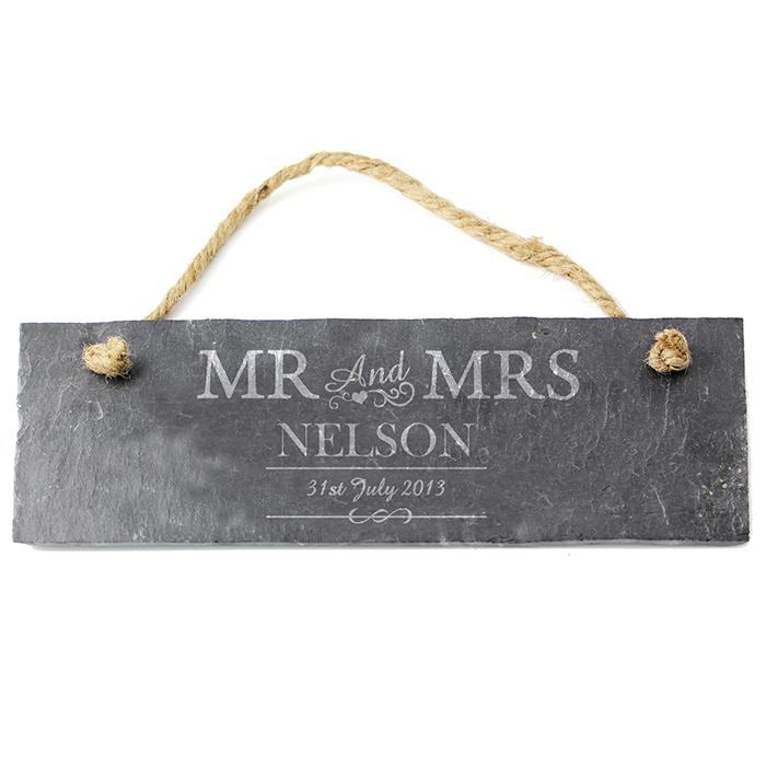 Mr & Mrs Slate Door Plaque