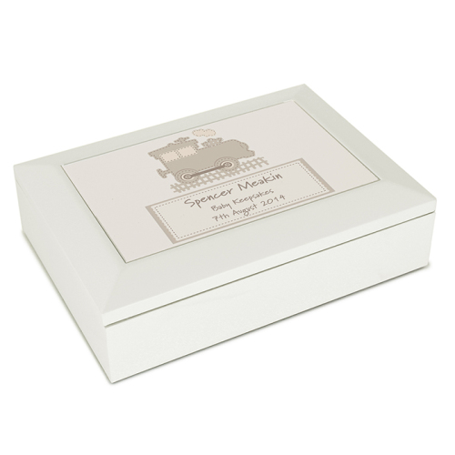 Stitched Train White Wooden Keepsake Box