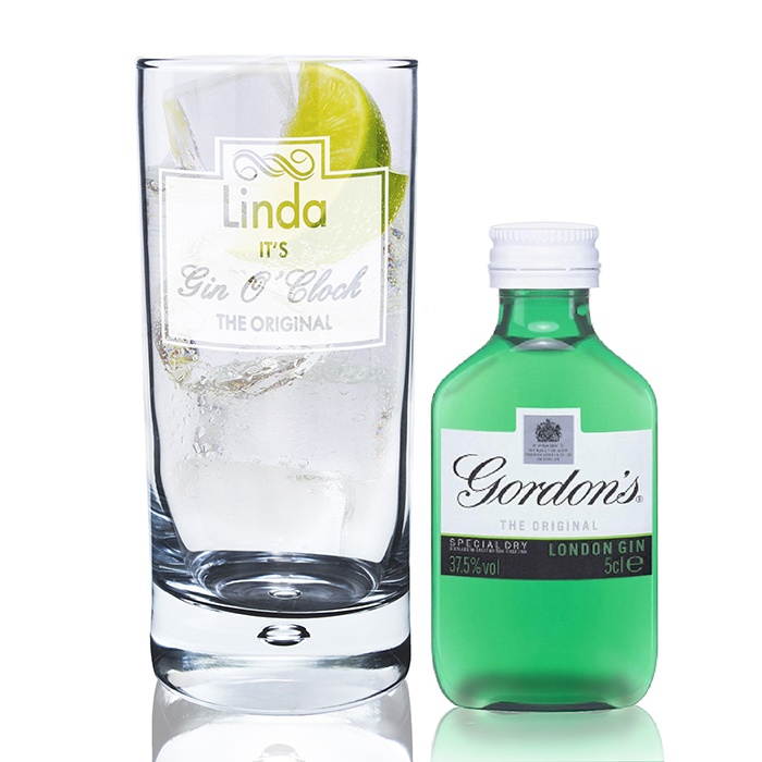 Gin O'Clock Hi Ball Bubble Glass & Mini Gin Set
