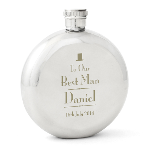 Decorative Wedding Best Man Round Hip Flask