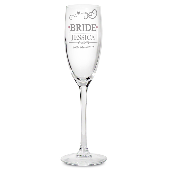 Mr & Mrs Bride Glass Flute