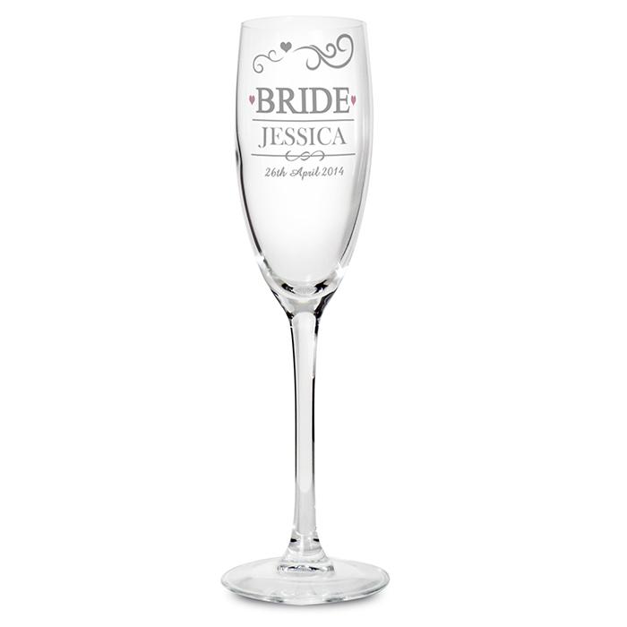 Mr & Mrs Bride Glass Flute