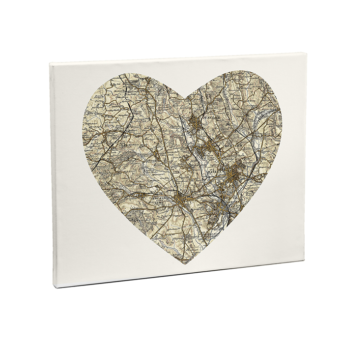 1896 - 1904 Revised New Heart Medium Map Canvas