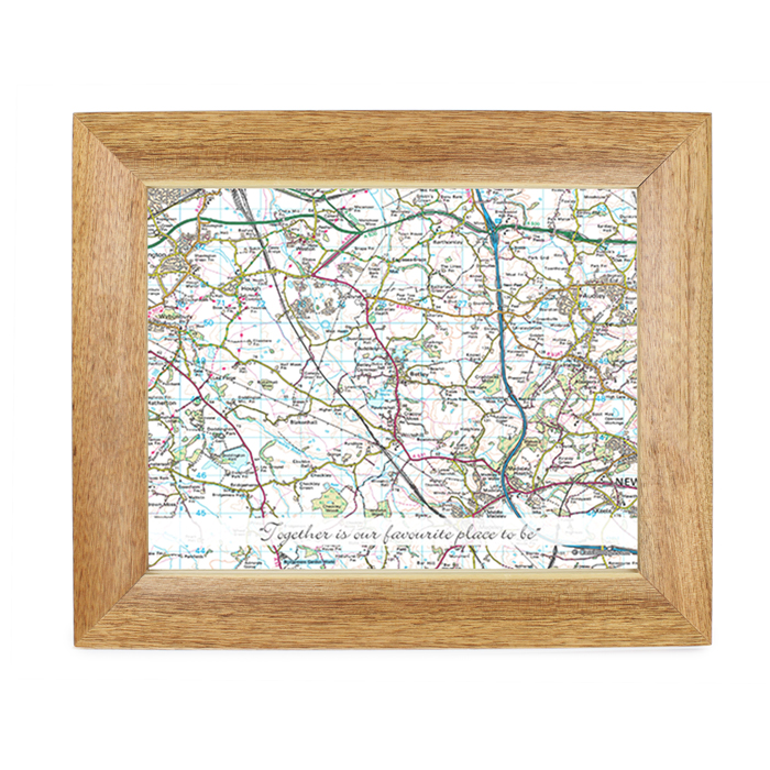 Postcode Map Wooden 10x8 Frame - Present Day With Message