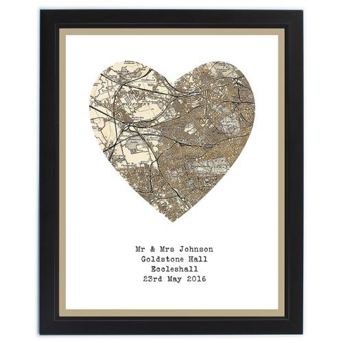 1896 - 1904 Revised Map Heart Framed Print