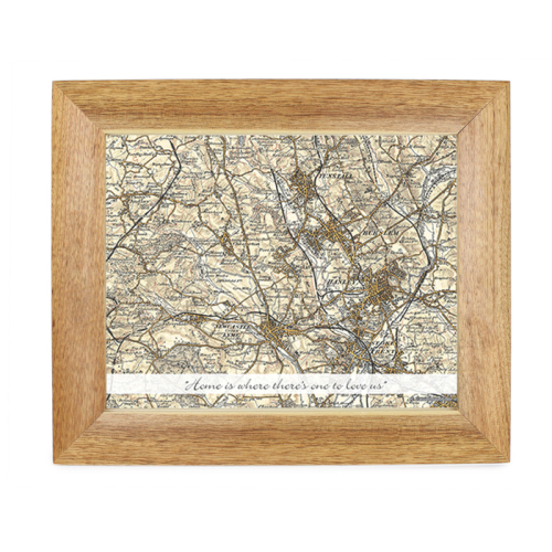 Postcode Map 10x8 Wooden Frame - Revised New With Message