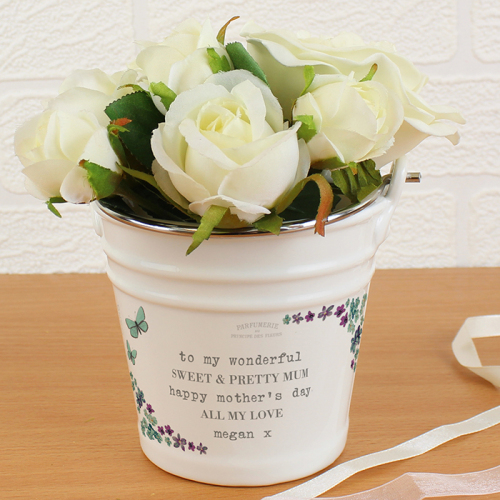 Forget Me Not Porcelain Bucket