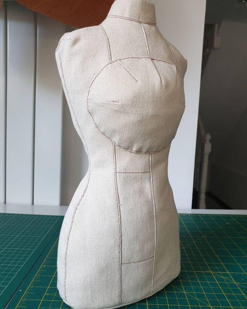 Edwardian half-sized corseted dress form