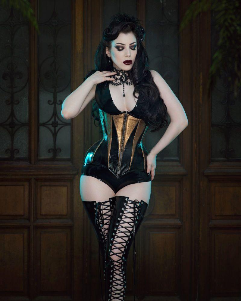 Black and gold leather corset - Isosceles design
