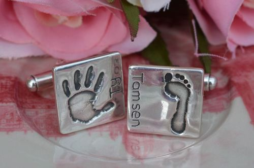 Handprint or Footprint Cufflinks (standard size)