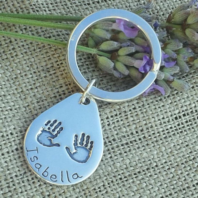Sterling Silver Handprint Keyring