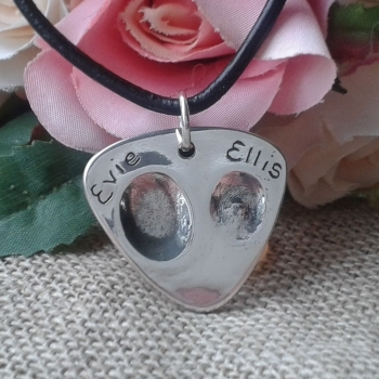 Silver Fingerprint Guitar Pick Pendant