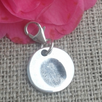 Fingerprint charm (small) on clasp (various shapes)