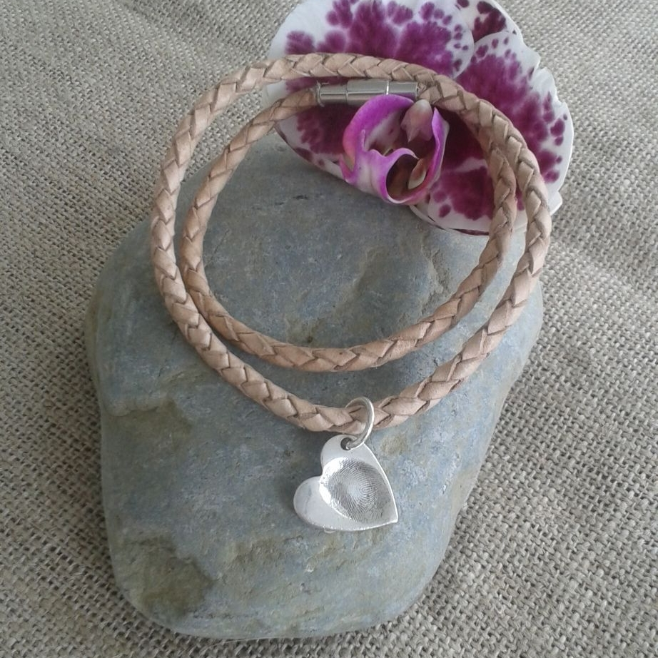 Leather bracelet with silver fingerprint charm (various shapes)