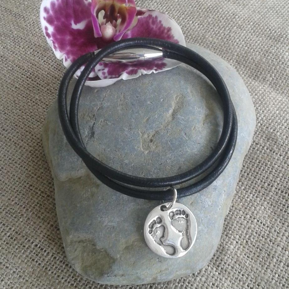 Leather bracelet with handprint ot footprint charm (various shapes)