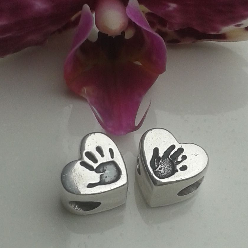 Handprint, footprint or paw print heart bead