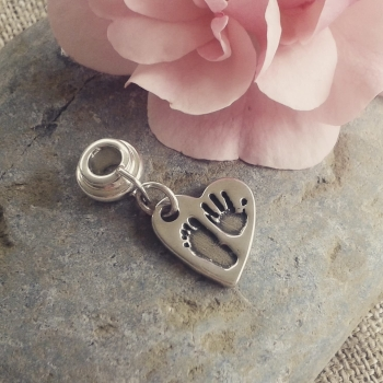 Heart handprint and footprint charm with two prints (choice of bracelet fittings available)