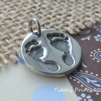 Circle handprint and footprint charm with two prints (choice of bracelet fitting available)