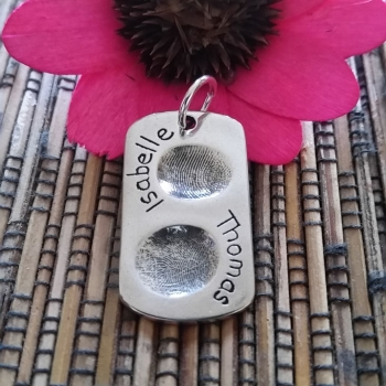 Fingerprint Dog Tag Large Two prints