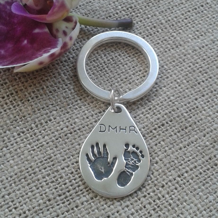 handprint and footprint keyring