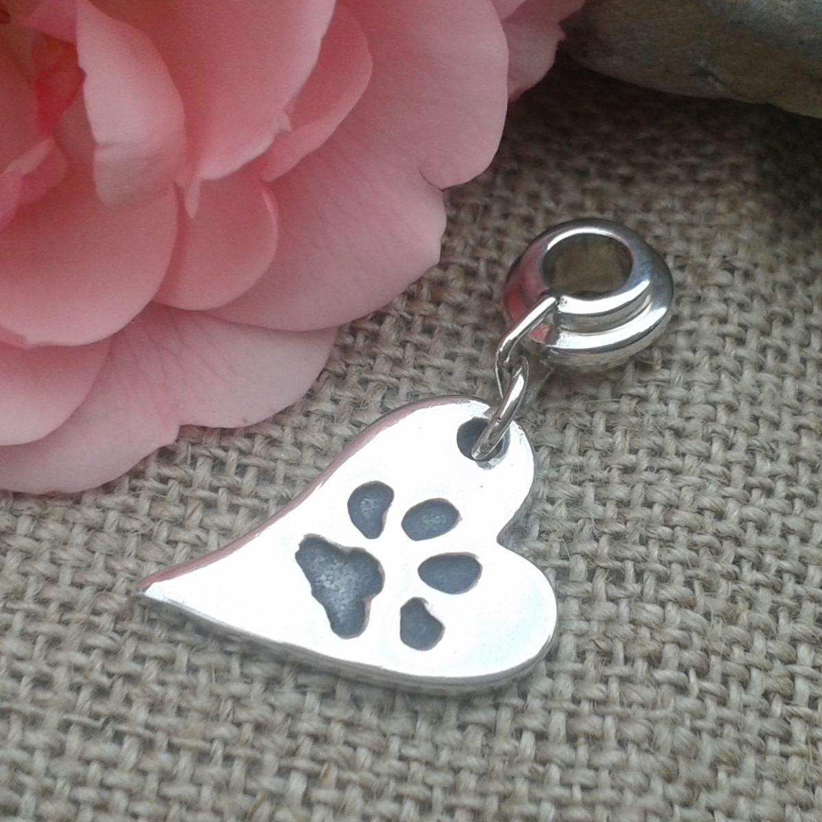 silver paw print heart charm for bracelet