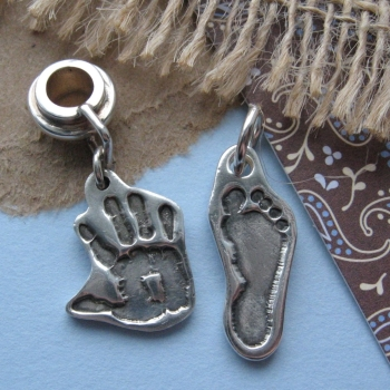 Cut-Out Hand or Footprint Charm (choice of bracelet fitting available)