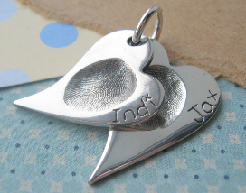 fingerprint jewellery - double descending fingerprint pendant