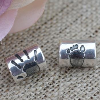 Silver handprint charm bead