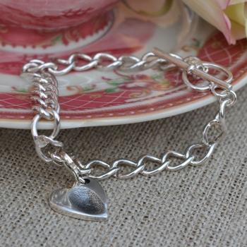 Sterling silver heart toggle bracelet with fingerprint, handprint, footprint or pawprint charm. (Hallmarked)