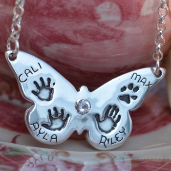 Butterfly handprint necklace (hallmarked) from £110