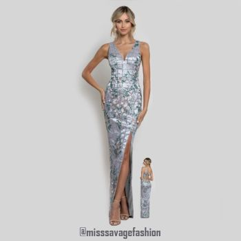 Bariano Helena V Neck Flower Sequin Gown