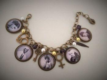 USA Suffragette Charm Bracelet Bronzetone
