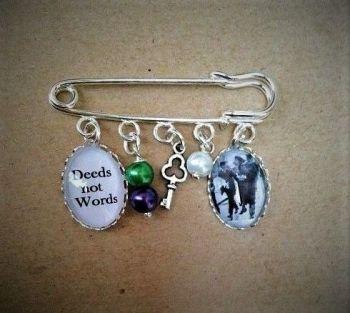 Deeds Not Words / Mrs Pankhurst Pin Brooch