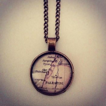 Vintage Palestine Map Necklace (Donation to MAP) 10% OFF THIS WEEKEND ONLY