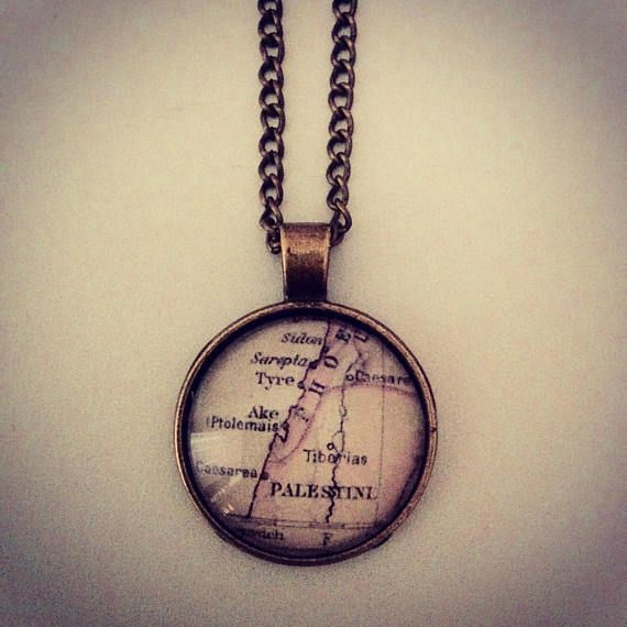Vintage Palestine Map Necklace