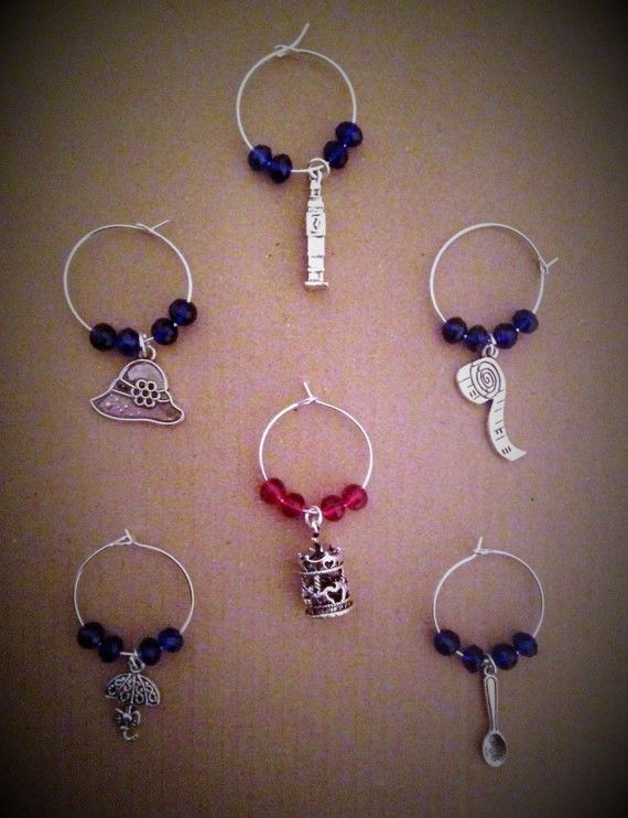 Mary Poppins style Wine glass Charms
