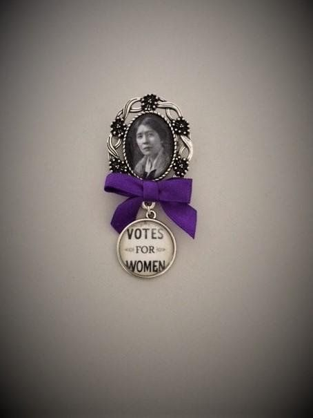 Sylvia Pankhurst / Votes for Women Silvertone Fob Brooch