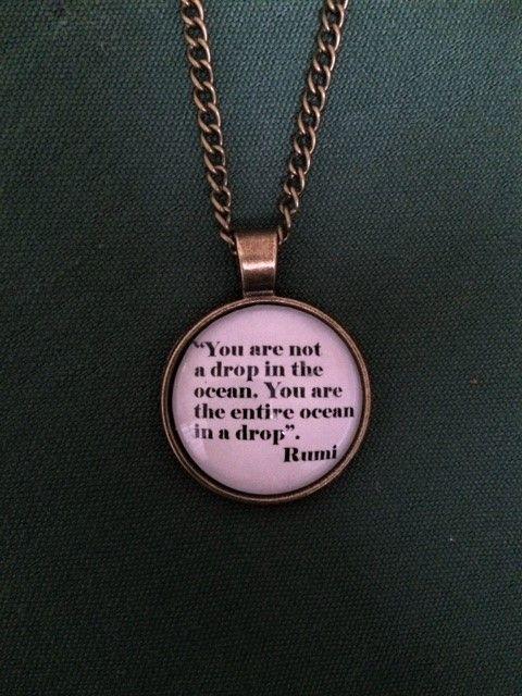 Rumi 'Drop in the Ocean' Quote Necklace