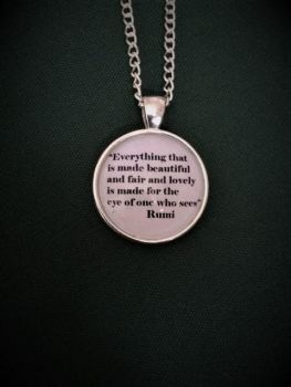 "Rumi ""Eye of One Who Sees"" Quote Necklace"