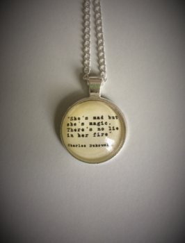 "Charles Bukowski ""An Almost Mad Up Poem"" Quote Necklace"