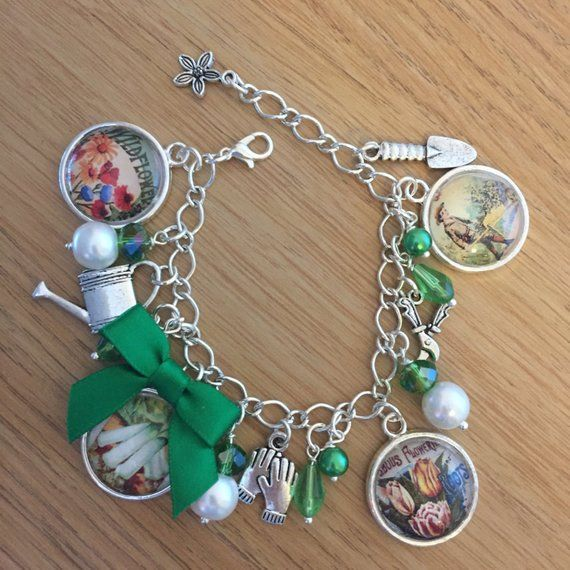 Silverplated Bracelet with a gardening theme
