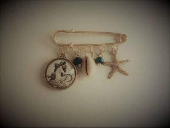 Mermaid Starfish Goldplated Brooch / Bag Pin