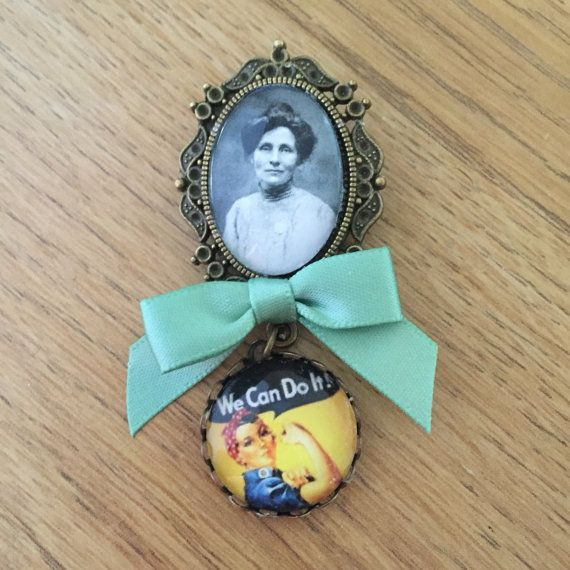 Emmeline Pankhurst / We Can Do It Fob Brooch