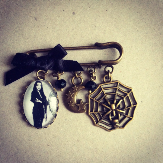 Morticia Addams Pin Brooch